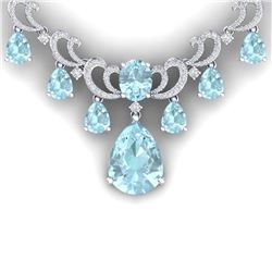 37.75 CTW Royalty Sky Topaz & VS Diamond Necklace 18K White Gold - REF-890W9H - 38664