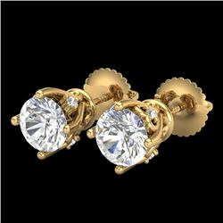 1.26 CTW VS/SI Diamond Solitaire Art Deco Stud Earrings 18K Yellow Gold - REF-209T3X - 37021