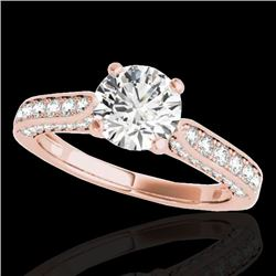 1.6 CTW H-SI/I Certified Diamond Solitaire Ring 10K Rose Gold - REF-180M2F - 34917