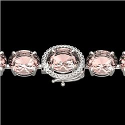 67 CTW Morganite & Micro Pave VS/SI Diamond Halo Bracelet 14K White Gold - REF-763R6K - 22269