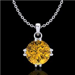 1 CTW Intense Fancy Yellow Diamond Solitaire Art Deco Necklace 18K White Gold - REF-167K3R - 37546