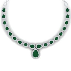51.41 CTW Royalty Emerald & VS Diamond Necklace 18K White Gold - REF-1018Y2N - 39420