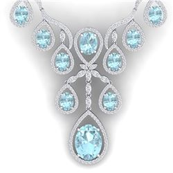 37.91 CTW Royalty Sky Topaz & VS Diamond Necklace 18K White Gold - REF-800W2H - 38565