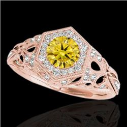 1.4 CTW Certified Si Fancy Intense Yellow Diamond Solitaire Antique Ring 10K Rose Gold - REF-176R4K