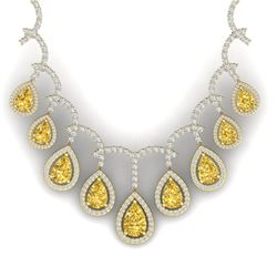 29.42 CTW Royalty Canary Citrine & VS Diamond Necklace 18K Yellow Gold - REF-781M8F - 39359