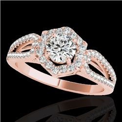 1.43 CTW H-SI/I Certified Diamond Solitaire Halo Ring 10K Rose Gold - REF-170Y9N - 34017