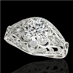 1.36 CTW H-SI/I Certified Diamond Solitaire Antique Ring 10K White Gold - REF-172N8Y - 34711