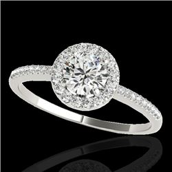 1.2 CTW H-SI/I Certified Diamond Solitaire Halo Ring 10K White Gold - REF-150H9W - 33499