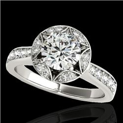 1.5 CTW H-SI/I Certified Diamond Solitaire Halo Ring 10K White Gold - REF-180W2H - 34229