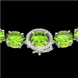 148 CTW Peridot & VS/SI Diamond Halo Micro Solitaire Necklace 14K White Gold - REF-913K8R - 22307