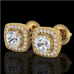 1.25 CTW Cushion Cut VS/SI Diamond Art Deco Stud Earrings 18K Yellow Gold - REF-218W2H - 37036