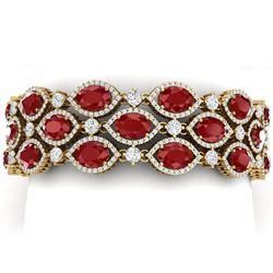 52.84 CTW Royalty Ruby & VS Diamond Bracelet 18K Yellow Gold - REF-1181W8H - 38891