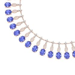 67.15 CTW Royalty Tanzanite & VS Diamond Necklace 18K Rose Gold - REF-1527Y3N - 39130