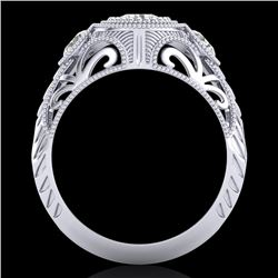 1.06 CTW VS/SI Diamond Solitaire Art Deco 3 Stone Ring 18K White Gold - REF-180F2M - 36893