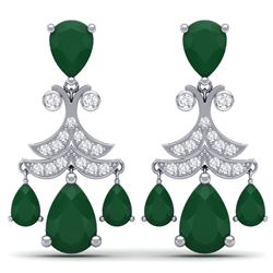 11.97 CTW Royalty Emerald & VS Diamond Earrings 18K White Gold - REF-176X4T - 38715