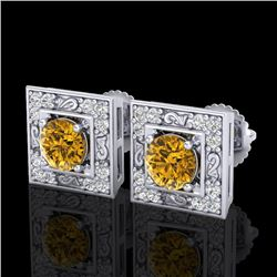 1.63 CTW Intense Fancy Yellow Diamond Art Deco Stud Earrings 18K White Gold - REF-176T4X - 38162