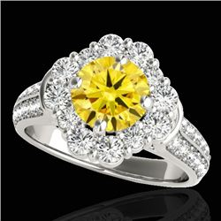 2.16 CTW Certified Si Fancy Intense Yellow Diamond Solitaire Halo Ring 10K White Gold - REF-221F8M -