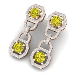 4 CTW Si/I Fancy Yellow And White Diamond Earrings 18K Rose Gold - REF-300F2M - 40137