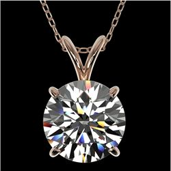 2 CTW Certified H-SI/I Quality Diamond Solitaire Necklace 10K Rose Gold - REF-561M5F - 33231