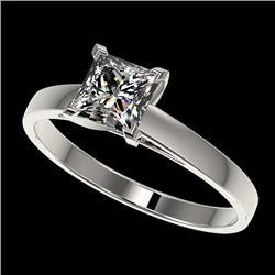 1 CTW Certified VS/SI Quality Princess Diamond Engagement Ring 10K White Gold - REF-270F3M - 32994
