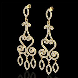 3.25 CTW VS/SI Diamond Certified Micro Pave Designer Earrings 14K Yellow Gold - REF-253W6H - 22417