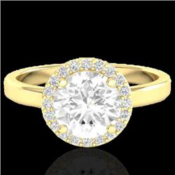 1.75 CTW Halo VS/SI Diamond Certified Micro Pave Ring Solitaire 18K Yellow Gold - REF-485H2W - 21640