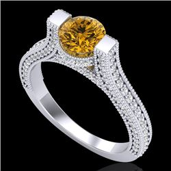 2 CTW Intense Fancy Yellow Diamond Engagement Micro Pave Ring 18K White Gold - REF-200W2H - 37623