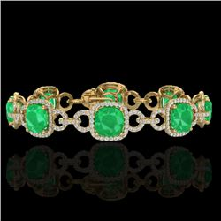 25 CTW Emerald & Micro VS/SI Diamond Certified Bracelet 14K Yellow Gold - REF-457X3T - 23022