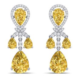 35.67 CTW Royalty Canary Citrine & VS Diamond Earrings 18K White Gold - REF-290Y9N - 38616