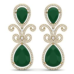 31.6 CTW Royalty Emerald & VS Diamond Earrings 18K Yellow Gold - REF-445X5T - 39542