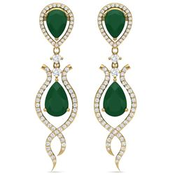 16.57 CTW Royalty Emerald & VS Diamond Earrings 18K Yellow Gold - REF-345H5W - 39512