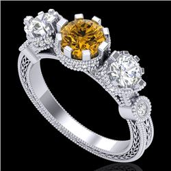 1.75 CTW Intense Fancy Yellow Diamond Art Deco 3 Stone Ring 18K White Gold - REF-227X3T - 37882