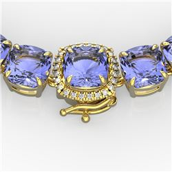 100 CTW Tanzanite & VS/SI Diamond Necklace 14K Yellow Gold - REF-1345K3R - 23363