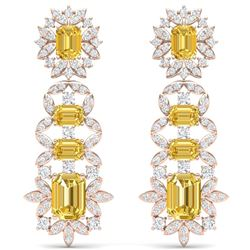 27.75 CTW Royalty Canary Citrine & VS Diamond Earrings 18K Rose Gold - REF-518H2W - 39418