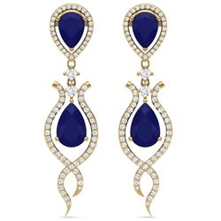 16.57 CTW Royalty Sapphire & VS Diamond Earrings 18K Yellow Gold - REF-327F3M - 39518