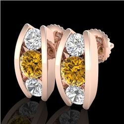2.18 CTW Intense Fancy Yellow Diamond Art Deco Stud Earrings 18K Rose Gold - REF-254R5K - 37771