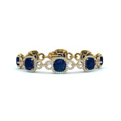 25 CTW Sapphire & VS/SI Diamond Certified Bracelet 14K Yellow Gold - REF-418K2R - 23031