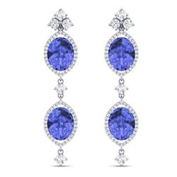16.21 CTW Royalty Tanzanite & VS Diamond Earrings 18K White Gold - REF-381X8T - 38913