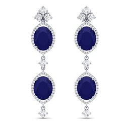 15.81 CTW Royalty Sapphire & VS Diamond Earrings 18K White Gold - REF-290M9F - 38910