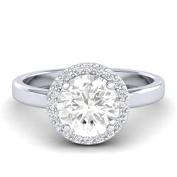 1.75 CTW VS/SI Diamond Certified Pave Ring Bridal 18K White Gold - REF-538M5F - 21639