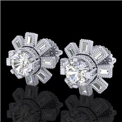 1.77 CTW VS/SI Diamond Solitaire Art Deco Stud Earrings 18K White Gold - REF-263K6R - 37064