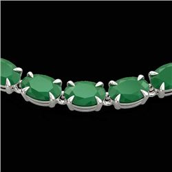 40 CTW Emerald Eternity Tennis Necklace 14K White Gold - REF-218T2X - 23373