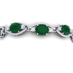 22.15 CTW Royalty Emerald & VS Diamond Bracelet 18K White Gold - REF-418N2Y - 38958