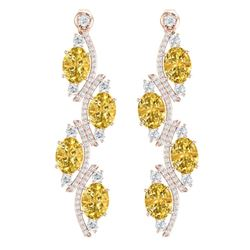 13.32 CTW Royalty Canary Citrine & VS Diamond Earrings 18K Rose Gold - REF-236N4Y - 38992