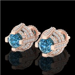 2.75 CTW Fancy Intense Blue Diamond Micro Pave Stud Earrings 18K Rose Gold - REF-236M4F - 37629