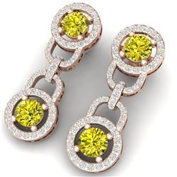 4 CTW Si/I Fancy Yellow And White Diamond Earrings 18K Rose Gold - REF-271N4Y - 40110