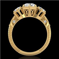 1.66 CTW VS/SI Diamond Solitaire Art Deco 3 Stone Ring 18K Yellow Gold - REF-445H5W - 37225