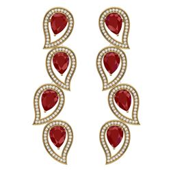 16.44 CTW Royalty Designer Ruby & VS Diamond Earrings 18K Yellow Gold - REF-336H4W - 39455