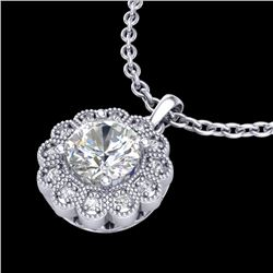 1.15 CTW VS/SI Diamond Solitaire Art Deco Stud Necklace 18K White Gold - REF-381Y8N - 37055