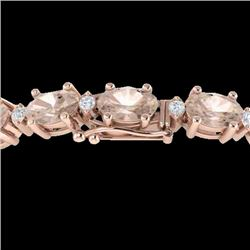 18.75 CTW Morganite & VS/SI Certified Diamond Eternity Bracelet 10K Rose Gold - REF-231N6Y - 29372